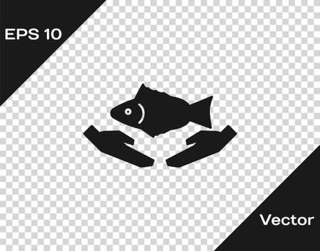 Black Fish care icon isolated on transparent background. Vector Illustration.