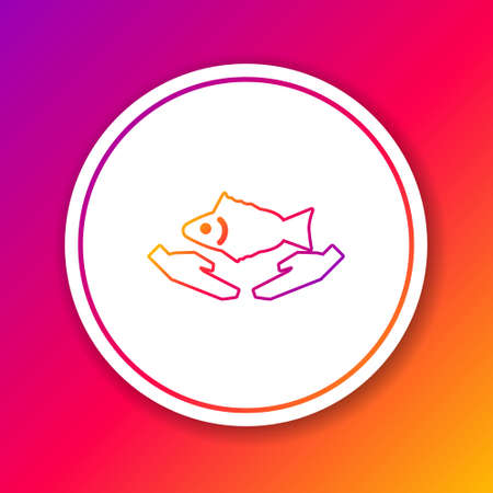 Color line Fish care icon isolated on color background. Circle white button. Vector Illustration.