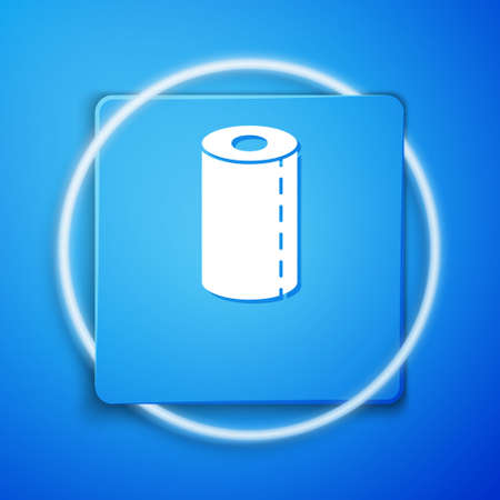 White Paper towel roll icon isolated on blue background. Blue square button. Vector Illustration.