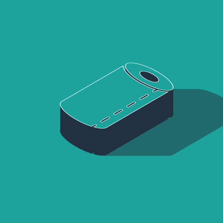 Isometric Paper towel roll icon isolated on green background. Vector Illustration.