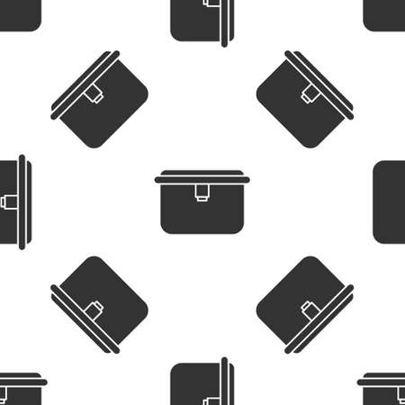 Grey Lunch box icon isolated seamless pattern on white background. Vector Illustration.