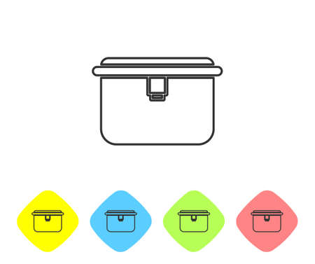 Grey line Lunch box icon isolated on white background. Set icons in color rhombus buttons. Vector Illustration.