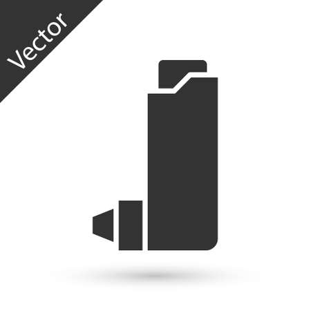 Grey Inhaler icon isolated on white background. Breather for cough relief, inhalation, allergic patient. Vector Illustration.