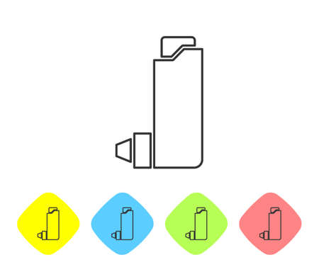 Grey line Inhaler icon isolated on white background. Breather for cough relief, inhalation, allergic patient. Set icons in color rhombus buttons. Vector Illustration.