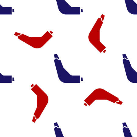 Blue and red Inhaler icon isolated seamless pattern on white background. Breather for cough relief, inhalation, allergic patient. Vector Illustration. Çizim