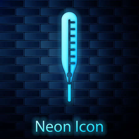 Glowing neon Medical thermometer for medical examination icon isolated on brick wall background. Vector Illustration.