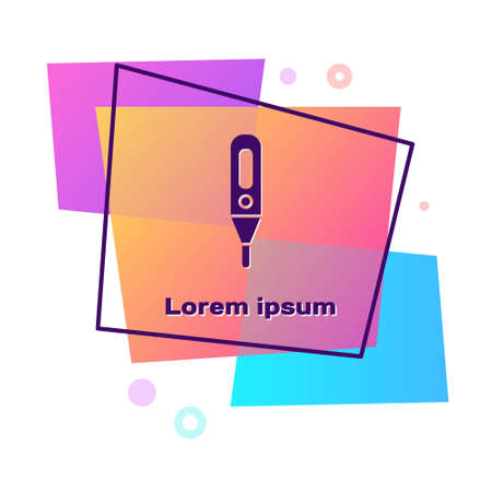 Purple Medical digital thermometer for medical examination icon isolated on white background. Color rectangle button. Vector Illustration.  イラスト・ベクター素材