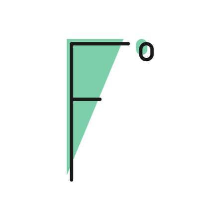 Black line Fahrenheit icon isolated on white background. Vector Illustration.  イラスト・ベクター素材