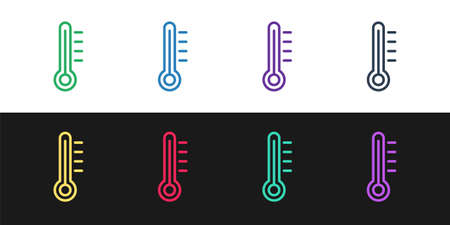 Set line Meteorology thermometer measuring icon isolated on black and white background. Thermometer equipment showing hot or cold weather. Vector Illustration.  イラスト・ベクター素材