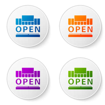 Color Shopping building or market store and text open icon isolated on white background. Shop construction. Set icons in circle buttons. Vector Illustration. 일러스트