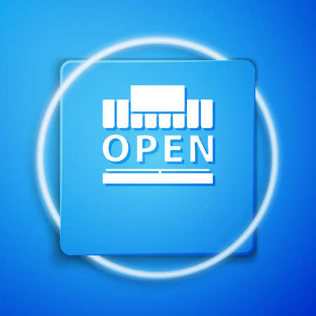 White Shopping building or market store and text open icon isolated on blue background. Shop construction. Blue square button. Vector Illustration.