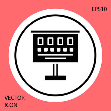 Black Eye test chart icon isolated on red background. Poster for vision testing in ophthalmic study. Snellen chart. White circle button. Vector Illustration.