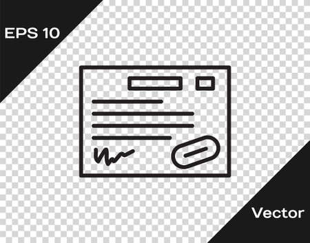 Black line Warranty certificate template icon isolated on transparent background. Vector Illustration.