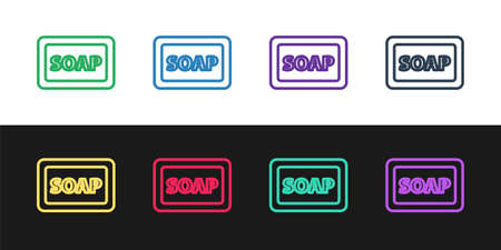 Set line Bar of soap with foam icon isolated on black and white background. Soap bar with bubbles. Vector Illustration.