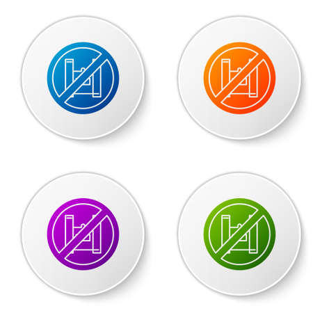 Color Say no to plastic bags poster icon isolated on white background. Disposable cellophane and polythene package prohibition sign. Set icons in circle buttons. Vector Illustration.