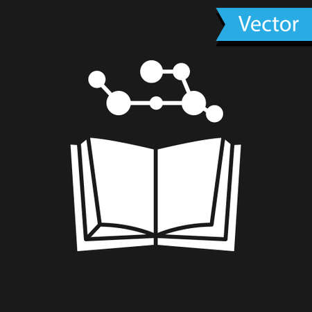 White Open book icon isolated on black background. Vector Illustration. Illustration