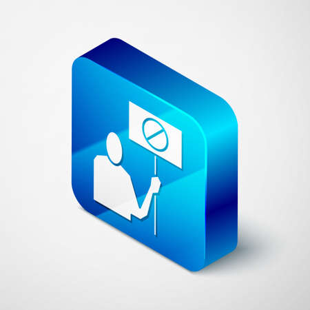 Isometric Nature saving protest icon isolated on grey background. Earth planet protection, environmental issues demonstration. Blue square button. Vector Illustration.