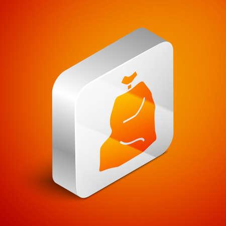 Isometric Garbage bag icon isolated on orange background. Silver square button. Vector Illustration. Ilustracja