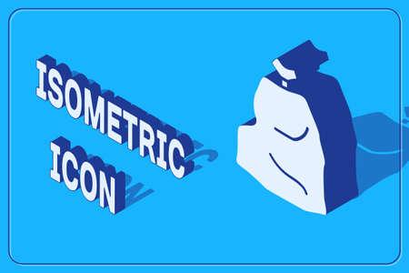 Isometric Garbage bag icon isolated on blue background. Vector Illustration.