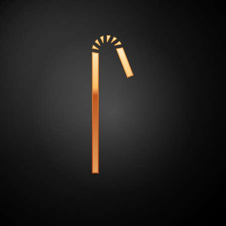 Gold Drinking plastic straw icon isolated on black background. Vector Illustration.