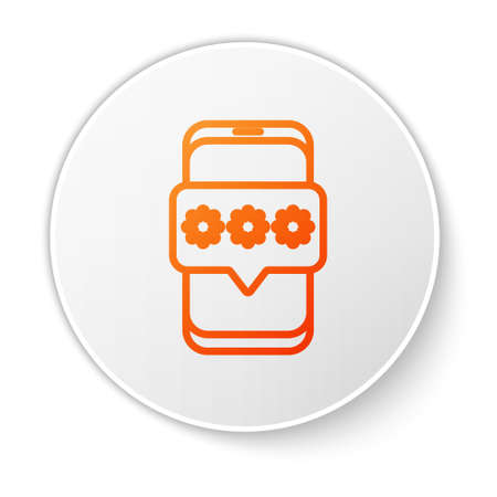 Orange line Mobile and password protection icon isolated on white background. Security, safety, personal access, user authorization, privacy. White circle button. Vector Illustration.