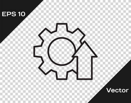 Black line Arrow growth gear business icon isolated on transparent background. Productivity icon. Vector Illustration.