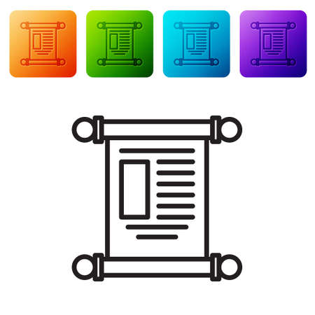 Black line Decree, paper, parchment, scroll icon icon isolated on white background. Chinese scroll. Set icons in color square buttons. Vector Illustration.