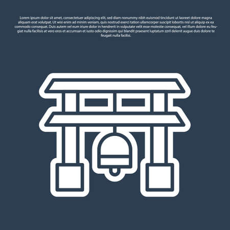 Blue line Japan Gate icon isolated on blue background. Torii gate sign. Japanese traditional classic gate symbol. Vector Illustration. Stock Illustratie