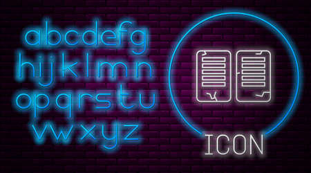Glowing neon line The commandments icon isolated on brick wall background. Gods law concept. Neon light alphabet. Vector Illustration.