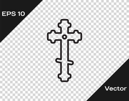 Black line Christian cross icon isolated on transparent background. Church cross. Vector Illustration.