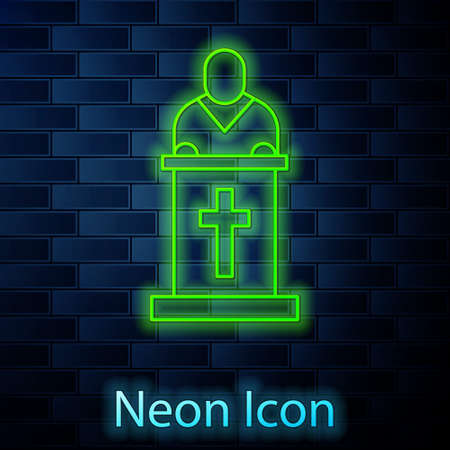 Glowing neon line Church pastor preaching icon isolated on brick wall background. Vector Illustration. Ilustração