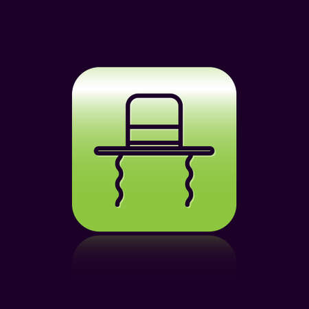 Black line Orthodox jewish hat with sidelocks icon isolated on black background. Jewish men in the traditional clothing. Judaism symbols. Green square button. Vector Illustration. Stock Illustratie