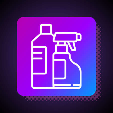 White line Plastic bottles for laundry detergent, bleach, dishwashing liquid or another cleaning agent icon isolated on black background. Square color button. Vector Illustration.