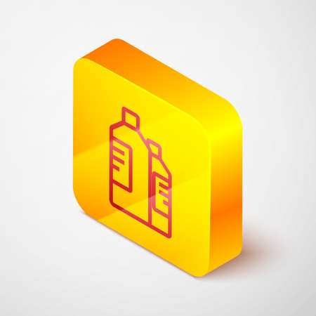 Isometric line Plastic bottles for laundry detergent, bleach, dishwashing liquid or another cleaning agent icon isolated on grey background. Yellow square button. Vector Illustration.