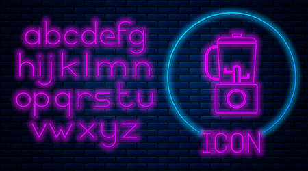 Glowing neon Blender icon isolated on brick wall background. Kitchen electric stationary blender with bowl. Cooking smoothies, cocktail or juice. Neon light alphabet. Vector Illustration. Çizim
