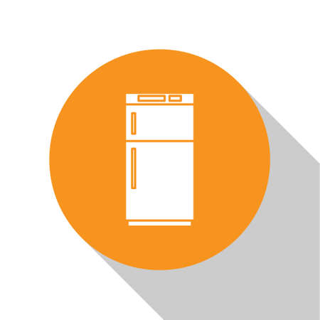 White Refrigerator icon isolated on white background. Fridge freezer refrigerator. Household tech and appliances. Orange circle button. Vector Illustration.