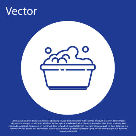 Blue line Plastic basin with soap suds icon isolated on blue background. Bowl with water. Washing clothes, cleaning equipment. White circle button. Vector Illustration.