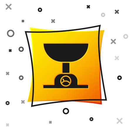 Black Electronic scales icon isolated on white background. Weight measure equipment. Yellow square button. Vector Illustration.
