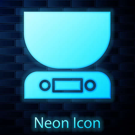 Glowing neon Electronic scales icon isolated on brick wall background. Weight measure equipment. Vector Illustration.