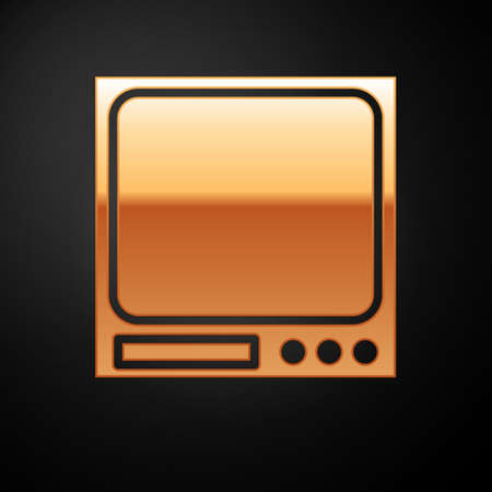 Gold Electronic scales icon isolated on black background. Weight measure equipment. Vector Illustration.