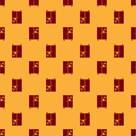 Red Medicine cabinet icon isolated seamless pattern on brown background. Vector Illustration.