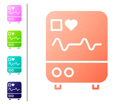 Coral Computer monitor with cardiogram icon isolated on white background. Monitoring icon. ECG monitor with heart beat hand drawn. Set color icons. Vector Illustration.