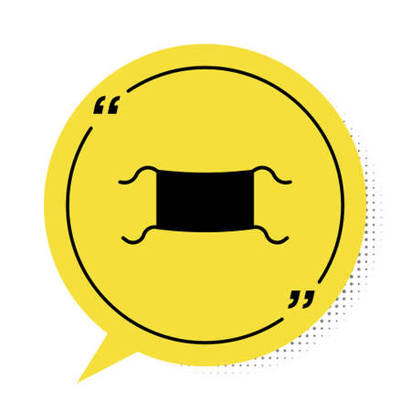 Black Medical protective mask icon isolated on white background. Yellow speech bubble symbol. Vector Illustration.