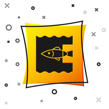 Black Stop ocean plastic pollution icon isolated on white background. Environment protection concept. Fish say no to plastic. Yellow square button. Vector Illustration.
