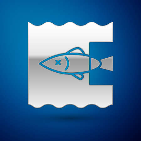 Silver Stop ocean plastic pollution icon isolated on blue background. Environment protection concept. Fish say no to plastic. Vector Illustration. 向量圖像
