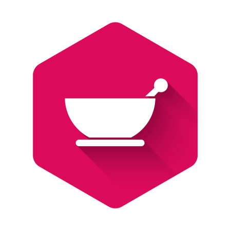 White Mortar and pestle icon isolated with long shadow. Pink hexagon button. Vector Illustration.