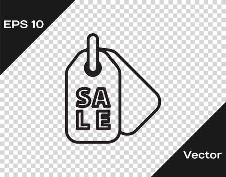 Black line Price tag with an inscription Sale icon isolated on transparent background. Badge for price. Promo tag discount. Vector Illustration.