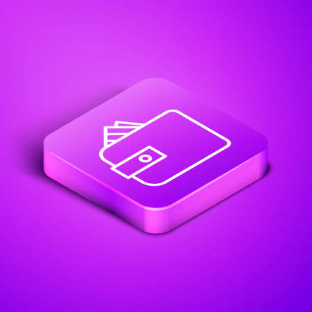 Isometric line Wallet with stacks paper money cash icon isolated on purple background. Purse icon. Cash savings symbol. Purple square button. Vector Illustration.
