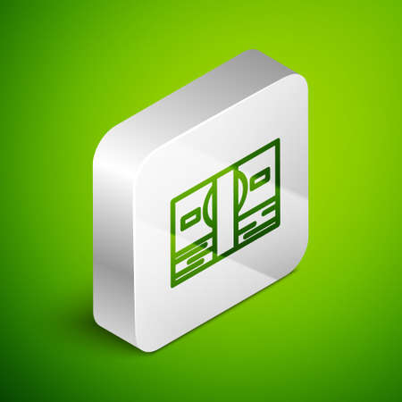 Isometric line Stacks paper money cash icon isolated on green background. Money banknotes stacks. Bill currency. Silver square button. Vector Illustration.