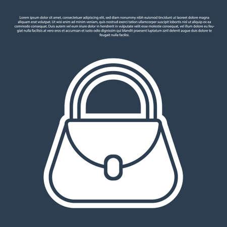 Blue line Handbag icon isolated on blue background. Female handbag sign. Glamour casual baggage symbol. Vector Illustration.
